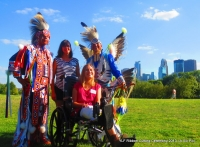 YLF Exectutive Director Bridget, daughter/YLF Youth Leader Imani w/Native Pride Arts dances Larry + brother