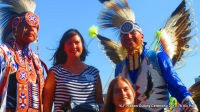YLF Exectutive Director Bridget, daughter/YLF Youth Leader Imani w/Native Pride Arts dancers Larry + brother